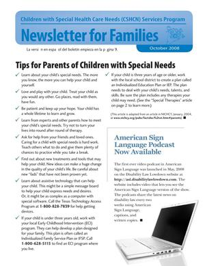 Primary view of object titled 'Children with Special Health Care Needs: Newsletter for Families, October 2008'.