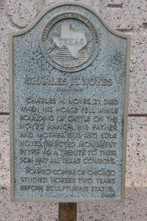 Charles H. Noyes Monument, Runnels County, plaque