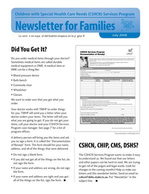Primary view of object titled 'Children with Special Health Care Needs: Newsletter for Families, July 2008'.