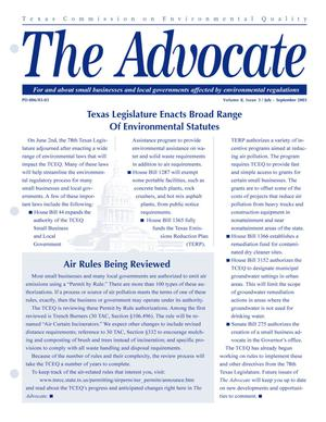 Primary view of object titled 'The Advocate, Volume 8, Issue 3, July-September 2003'.