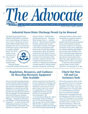 Primary view of object titled 'The Advocate, Volume 16, Issue 1, January-March 2011'.