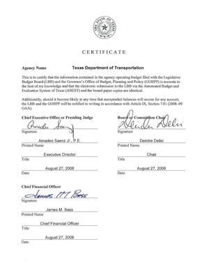 Primary view of object titled 'Texas Department of Transportation Legislative Appropriations Request for Fiscal Years 2010 to 2011'.