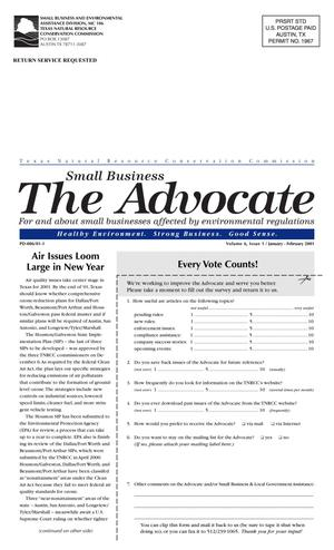 Primary view of object titled 'The Advocate, Volume 6, Issue 1, January-February 2001'.