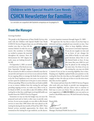 Primary view of object titled 'Children with Special Health Care Needs: Newsletter for Families, October 2005'.