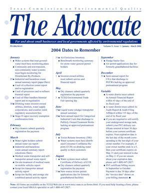 Primary view of object titled 'The Advocate, Volume 9, Issue 1, January-March 2004'.
