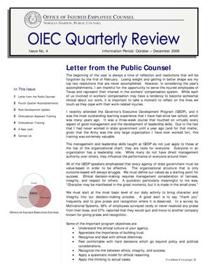 Primary view of object titled 'OIEC Quarterly Review, Number 4, October-December 2006'.