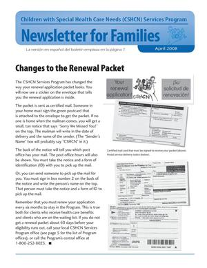 Primary view of object titled 'Children with Special Health Care Needs: Newsletter for Families, April 2008'.