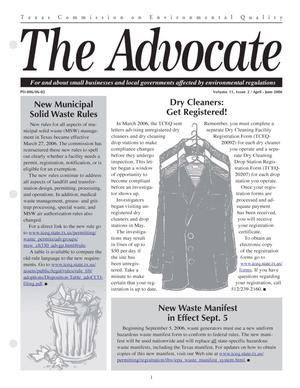 Primary view of object titled 'The Advocate, Volume 11, Issue 2, April-June 2006'.