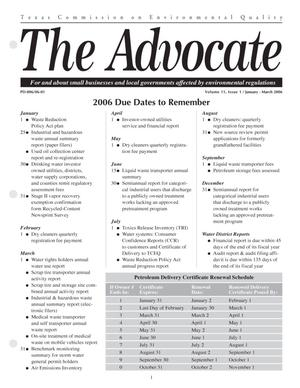 Primary view of object titled 'The Advocate, Volume 11, Issue 1, January-March 2006'.
