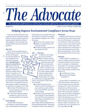 Primary view of object titled 'The Advocate, Volume 8, Issue 4, October-December 2003'.