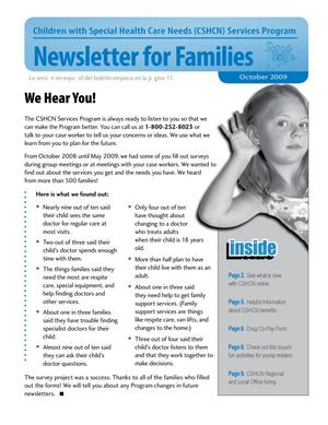 Primary view of object titled 'Children with Special Health Care Needs: Newsletter for Families, October 2009'.