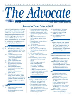 Primary view of object titled 'The Advocate, Volume 19, Issue 4, October-December 2014'.