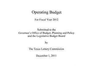Primary view of object titled 'Operating Budget for Fiscal Year 2012'.