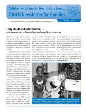Primary view of object titled 'Children with Special Health Care Needs: Newsletter for Families, October 2006'.