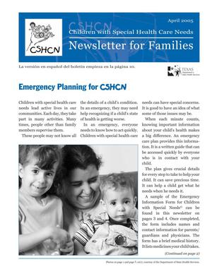 Primary view of object titled 'Children with Special Health Care Needs: Newsletter for Families, April 2005'.