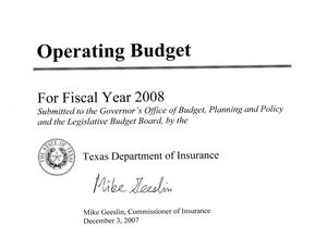 Primary view of object titled 'Texas Department of Insurance Operating Budget: 2008 [Summaries]'.