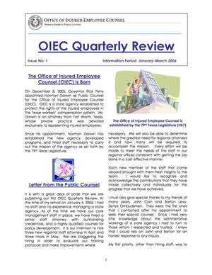 Primary view of object titled 'OIEC Quarterly Review, Number 1, January-March 2006'.