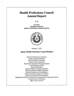 Primary view of object titled 'Texas Health Professions Council Annual Report: 2002'.