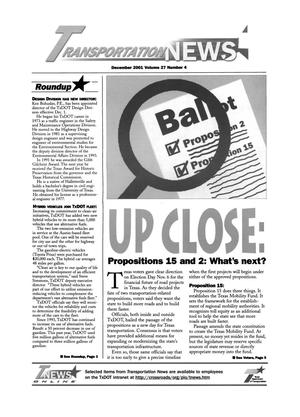 Primary view of object titled 'Transportation News, Volume 27, Number 4, December 2001'.
