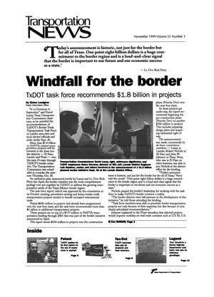 Primary view of object titled 'Transportation News, Volume 25, Number 3, November 1999'.