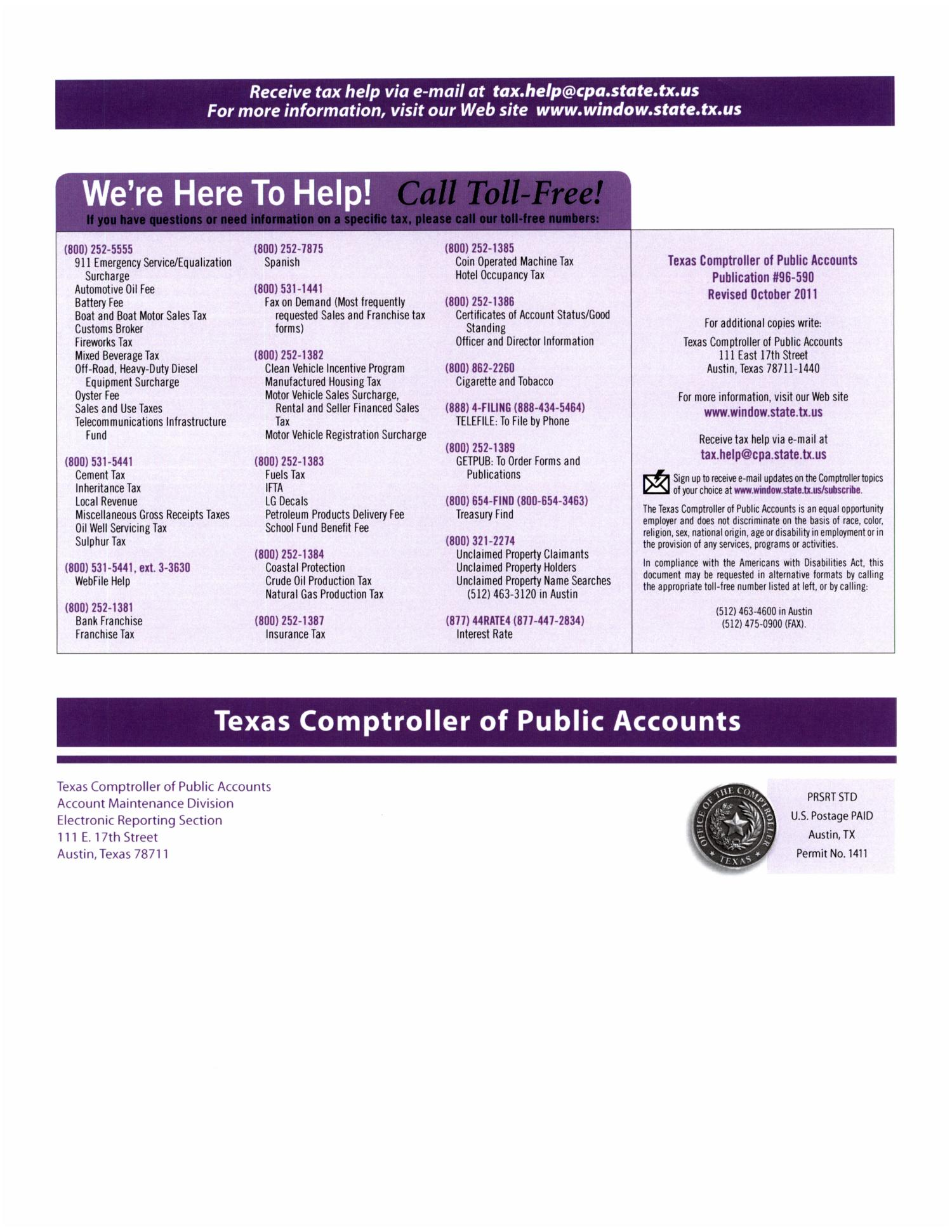 Texnet Payment Instructions Booklet Page Back Cover The Portal