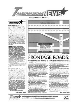 Primary view of object titled 'Transportation News, Volume 27, Number 6, February 2002'.