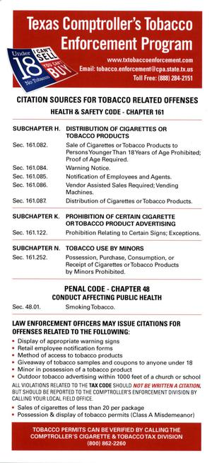 Primary view of object titled 'Texas Comptroller's Tobacco Enforcement Program'.