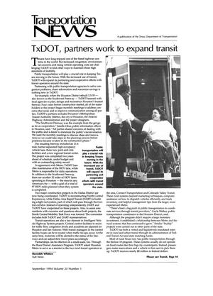 Primary view of object titled 'Transportation News, Volume 20, Number 1, September 1994'.