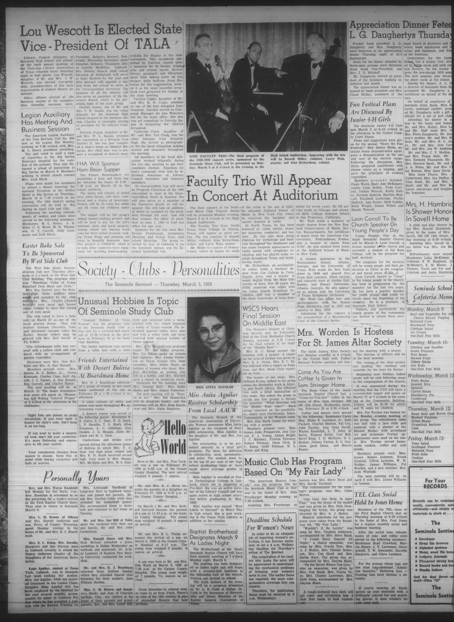 The Seminole Sentinel (Seminole, Tex.), Vol. 52, No. 15, Ed. 1 Thursday, March 5, 1959                                                                                                      [Sequence #]: 2 of 18