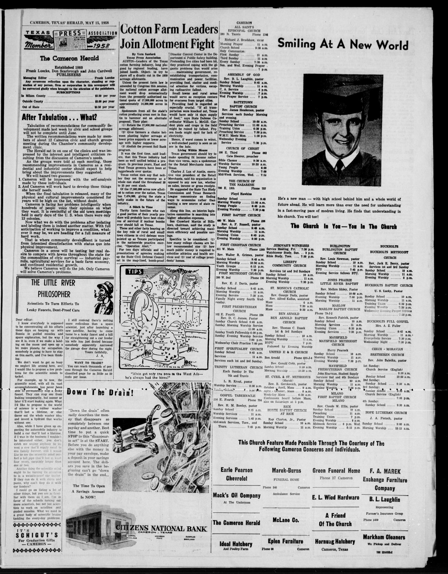 The Cameron Herald (Cameron, Tex.), Vol. 99, No. 7, Ed. 1 Thursday, May 15, 1958                                                                                                      [Sequence #]: 3 of 10