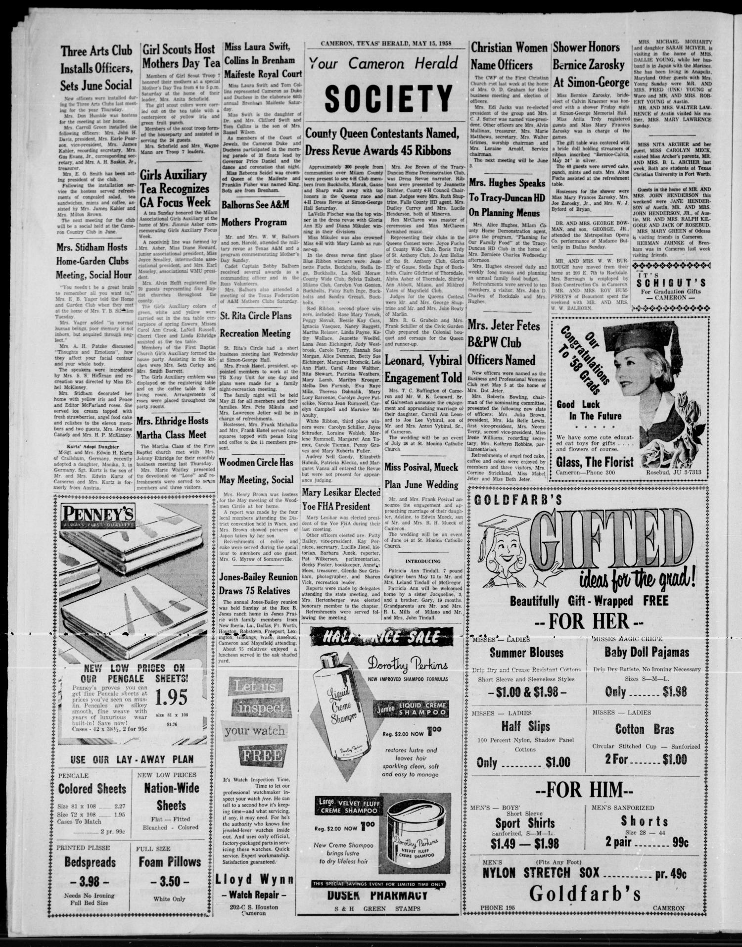 The Cameron Herald (Cameron, Tex.), Vol. 99, No. 7, Ed. 1 Thursday, May 15, 1958                                                                                                      [Sequence #]: 4 of 10
