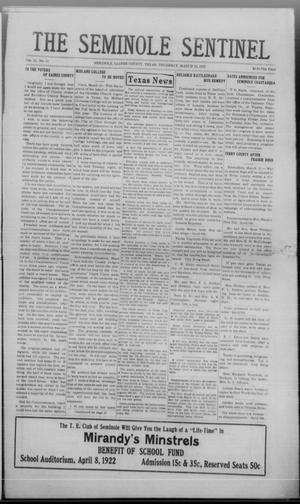Primary view of The Seminole Sentinel (Seminole, Tex.), Vol. 15, No. 51, Ed. 1 Thursday, March 16, 1922