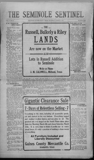 Primary view of object titled 'The Seminole Sentinel (Seminole, Tex.), Vol. 17, No. 50, Ed. 1 Thursday, March 6, 1924'.