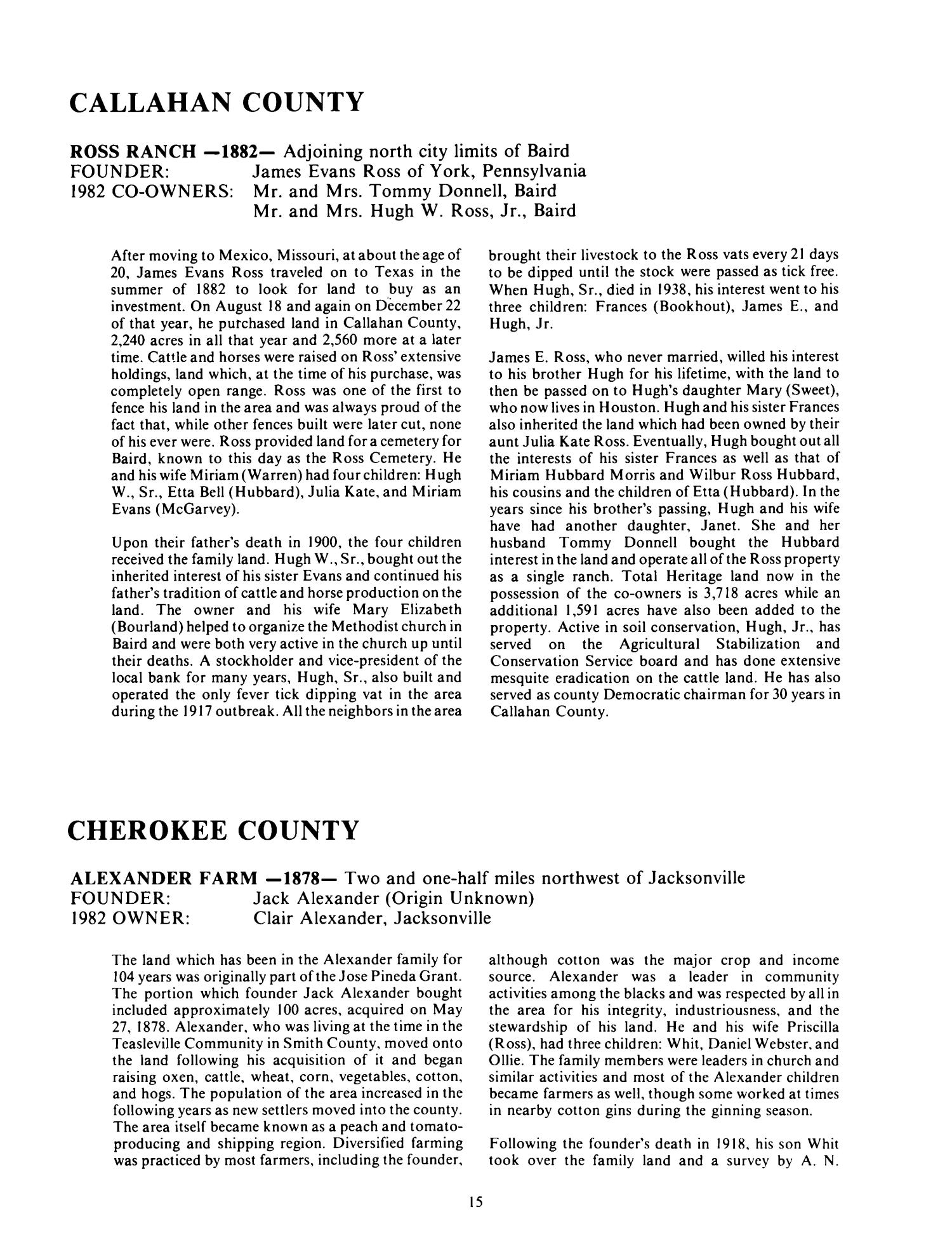 Texas Family Land Heritage Registry, Volume 8, 1982 - Page