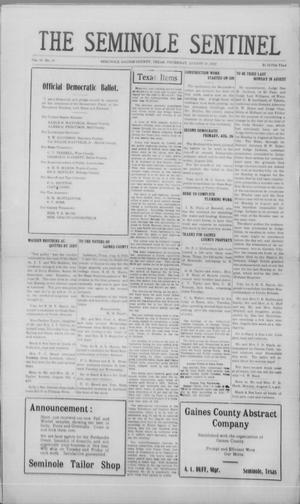Primary view of object titled 'The Seminole Sentinel (Seminole, Tex.), Vol. 16, No. 20, Ed. 1 Thursday, August 10, 1922'.