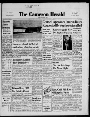 Primary view of object titled 'The Cameron Herald (Cameron, Tex.), Vol. 98, No. 43, Ed. 1 Thursday, January 23, 1958'.