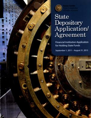 Primary view of object titled 'State Depository Application / Agreement, Financial Instituion Application for Holding State Funds'.