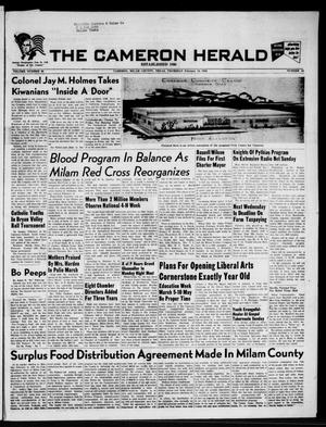 Primary view of object titled 'The Cameron Herald (Cameron, Tex.), Vol. 96, No. 46, Ed. 1 Thursday, February 16, 1956'.