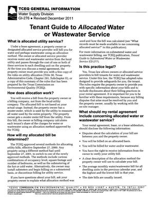 Primary view of object titled 'Tenant guide to allocated water or wastewater service'.