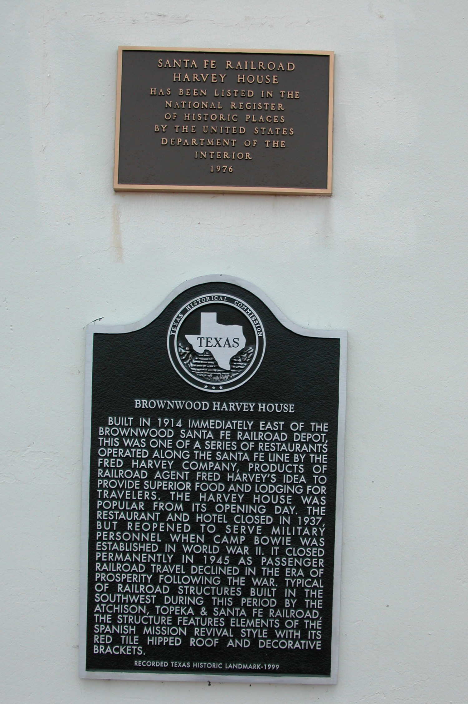 Brownwood Harvey House, Historic Plaque                                                                                                      [Sequence #]: 1 of 1