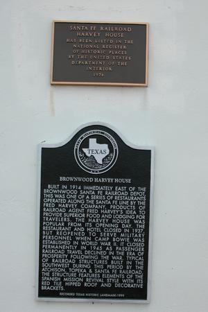 Primary view of object titled 'Brownwood Harvey House, Historic Plaque'.