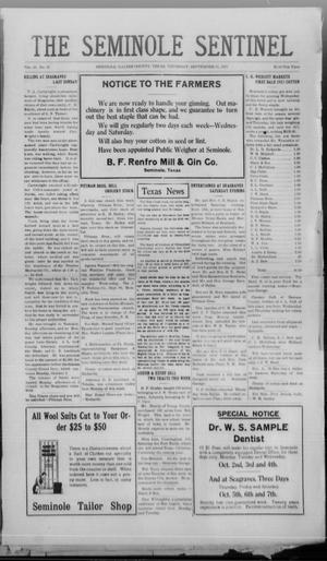 Primary view of object titled 'The Seminole Sentinel (Seminole, Tex.), Vol. 15, No. 26, Ed. 1 Wednesday, September 21, 1921'.