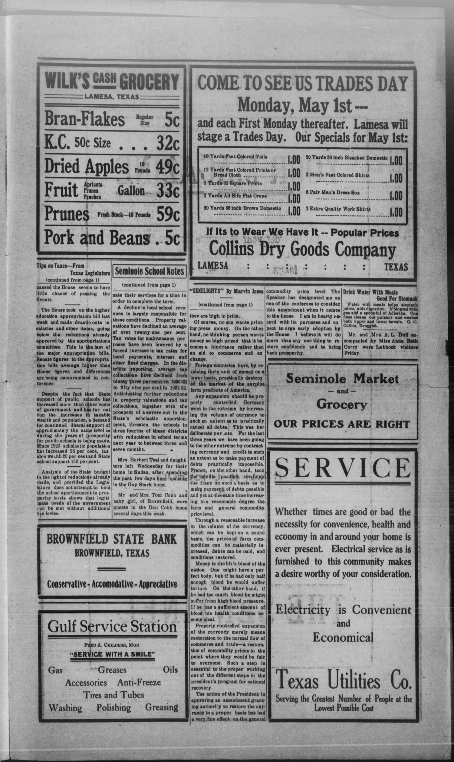 The Seminole Sentinel (Seminole, Tex.), Vol. 27, No. 8, Ed. 1 Thursday, April 27, 1933                                                                                                      [Sequence #]: 3 of 4