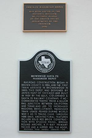 Primary view of object titled 'Brownwood Sante Fe Passenger Depot, Historic Plaque'.