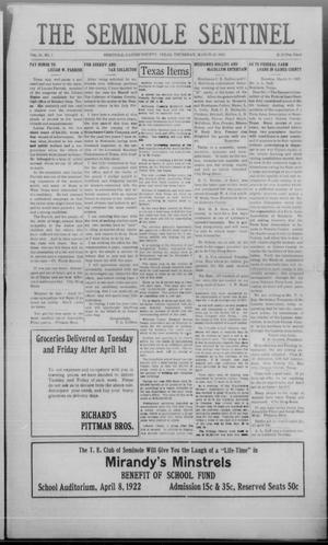 Primary view of object titled 'The Seminole Sentinel (Seminole, Tex.), Vol. 15, No. 1, Ed. 1 Thursday, March 30, 1922'.