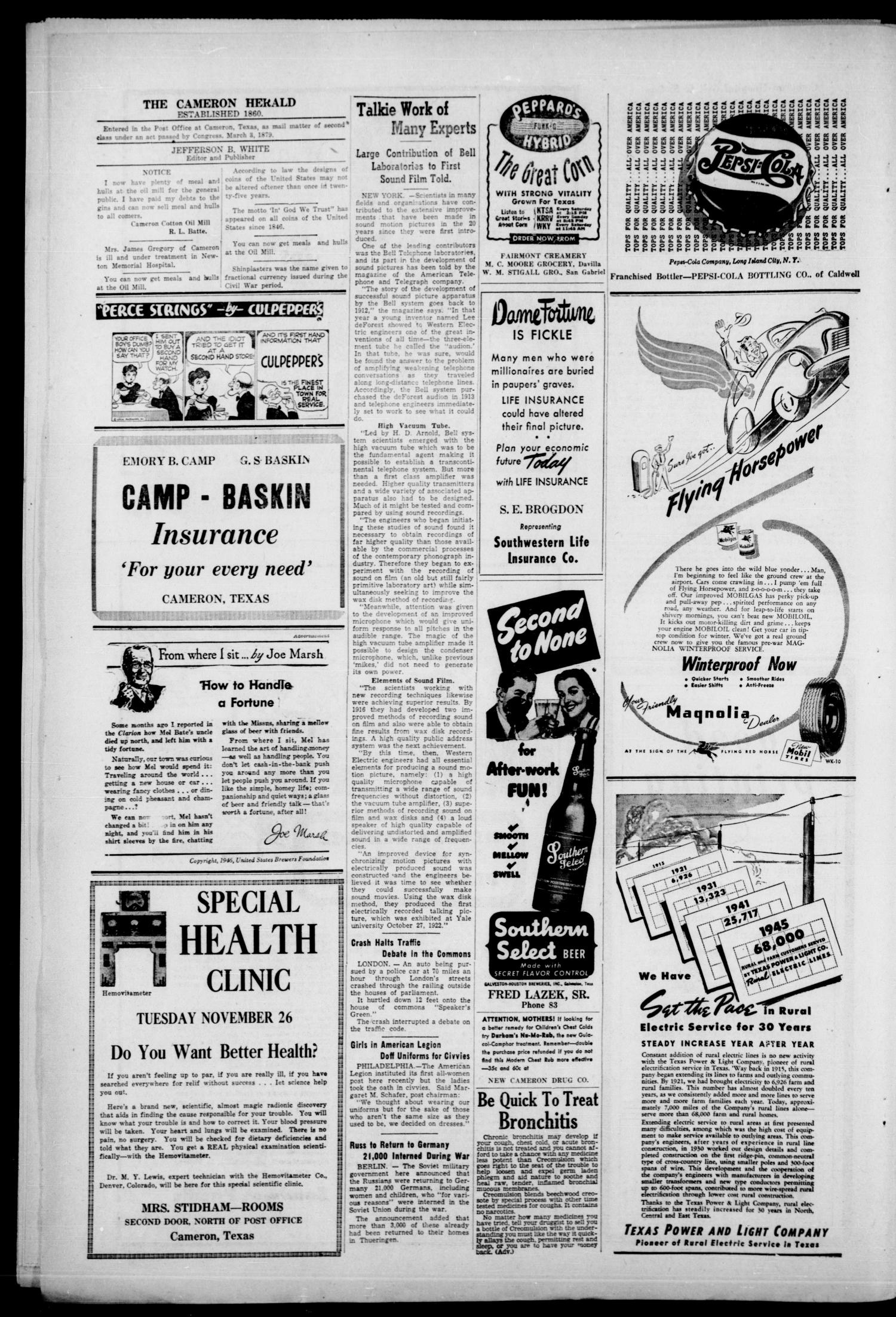 The Cameron Herald and Centinel (Cameron, Tex.), Vol. 87, No. 28, Ed. 1 Thursday, November 14, 1946                                                                                                      [Sequence #]: 4 of 16