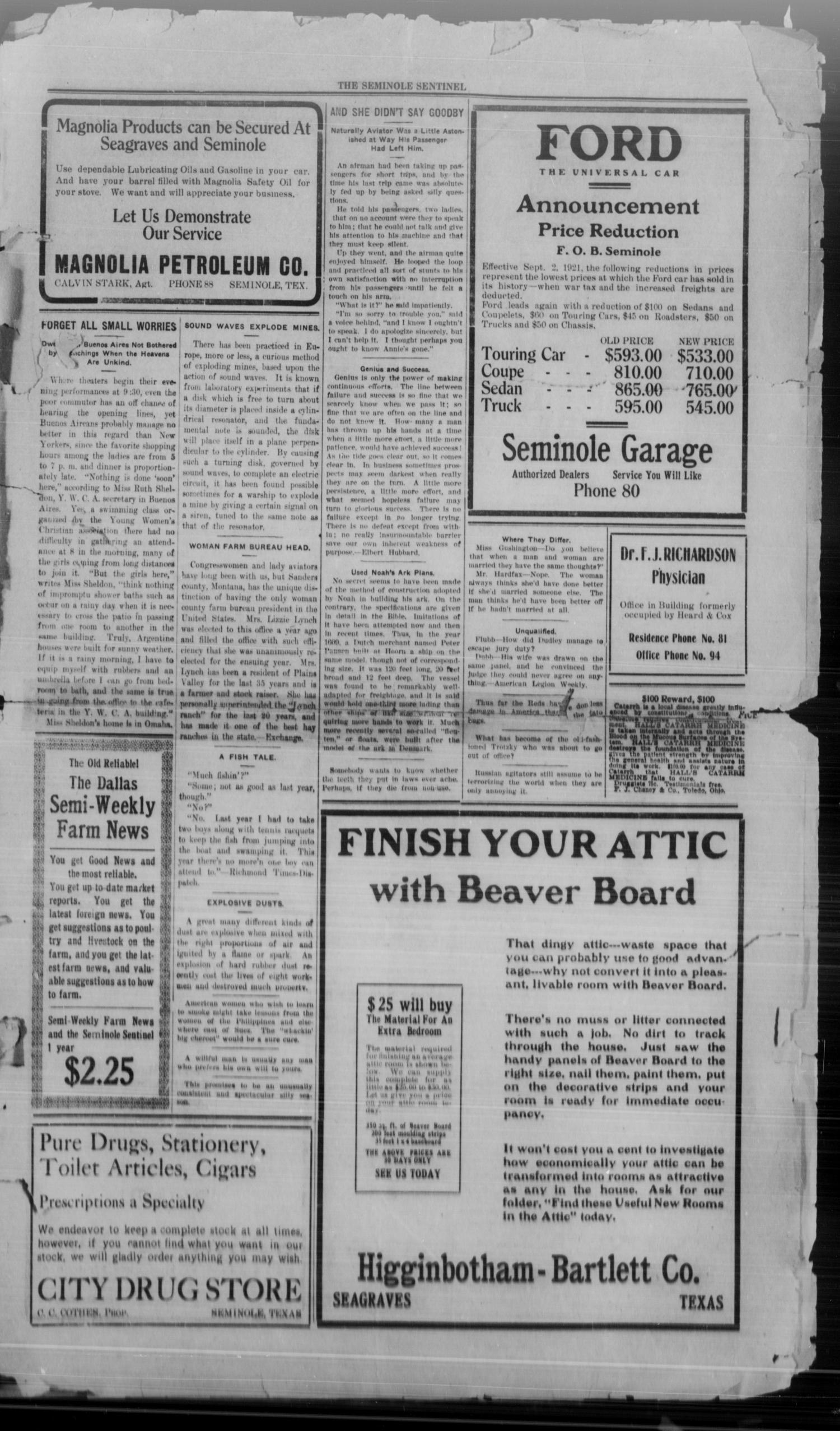The Seminole Sentinel (Seminole, Tex ), Vol  15, No  26, Ed