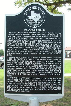 Primary view of object titled 'Historic Plaque, Brooke Smith, Brownwood'.