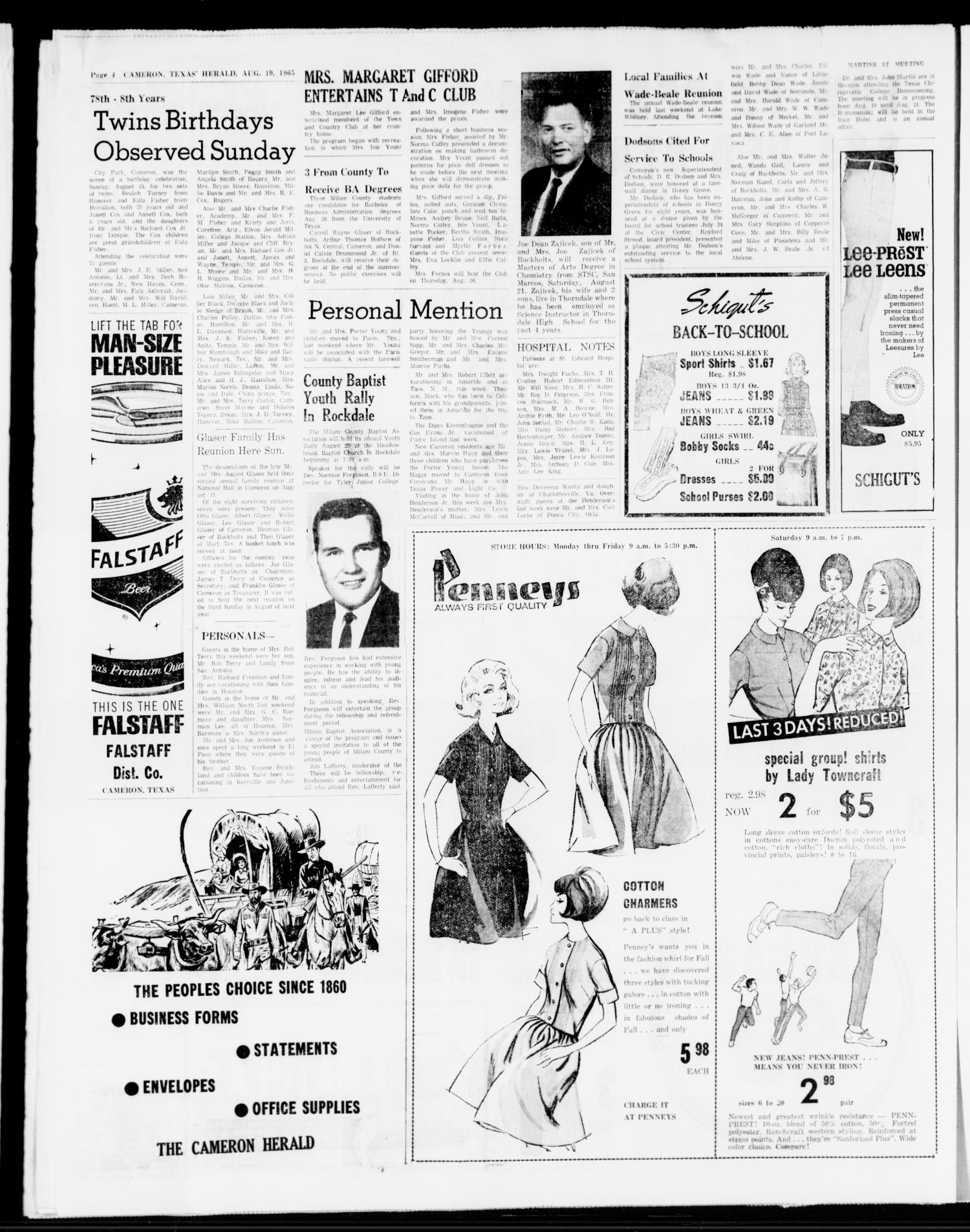 The Cameron Herald (Cameron, Tex.), Vol. 106, No. 22, Ed. 1 Thursday, August 19, 1965                                                                                                      [Sequence #]: 4 of 12
