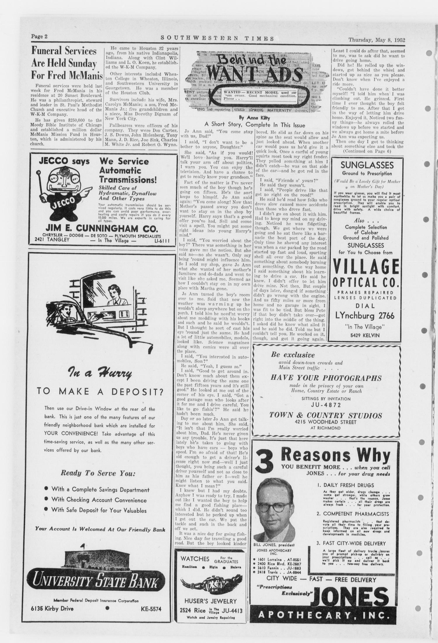 Southwestern Times (Houston, Tex.), Vol. 8, No. 29, Ed. 1 Thursday, May 8, 1952                                                                                                      [Sequence #]: 2 of 16